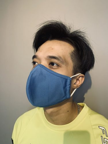 Royal Blue Reusable WATER RESISTANCE ANTI-MICROBIAL Fabric Face Mask 3-PLY photo review